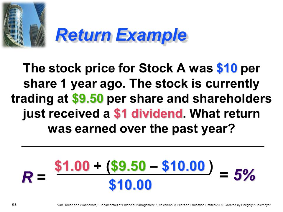Return Example = 5% R = $1.00 + ($9.50 – $10.00 ) $10.00