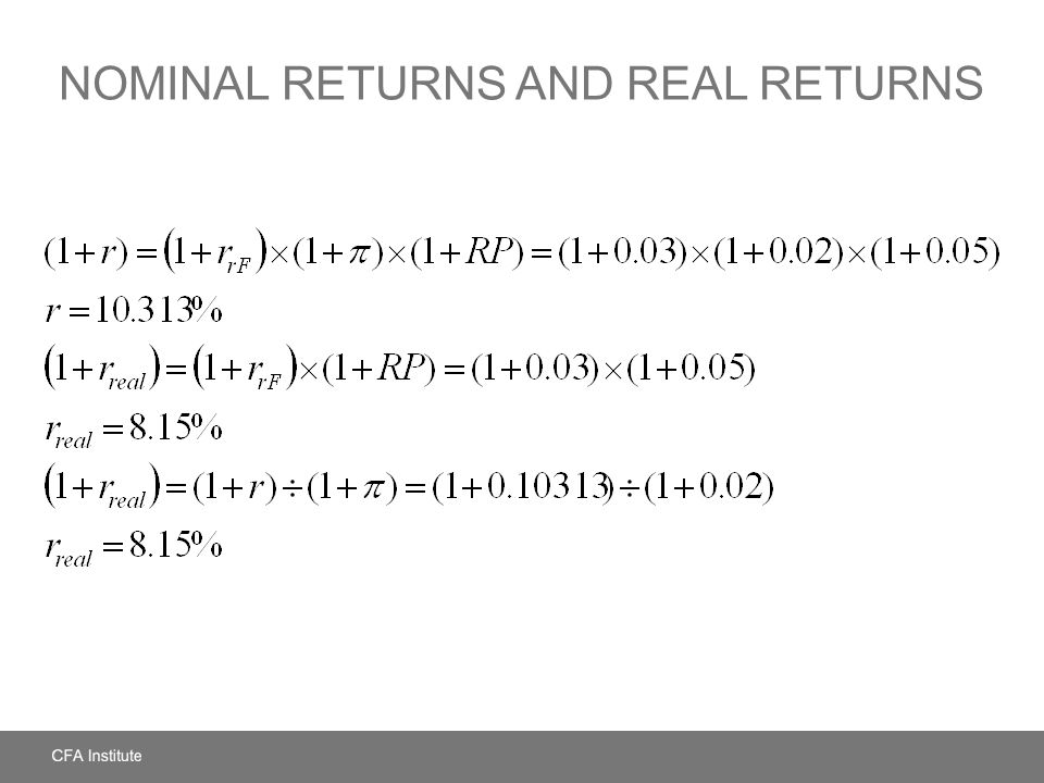 Nominal Returns and Real Returns