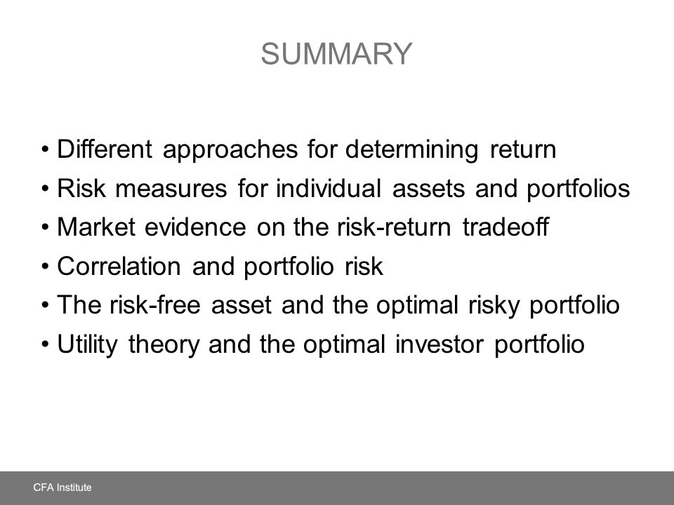 Summary Different approaches for determining return