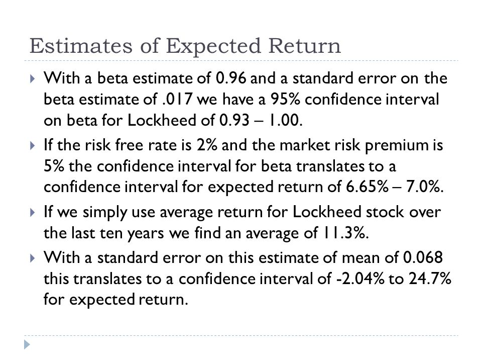Estimates of Expected Return