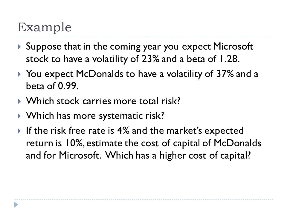 Example Suppose that in the coming year you expect Microsoft stock to have a volatility of 23% and a beta of 1.28.