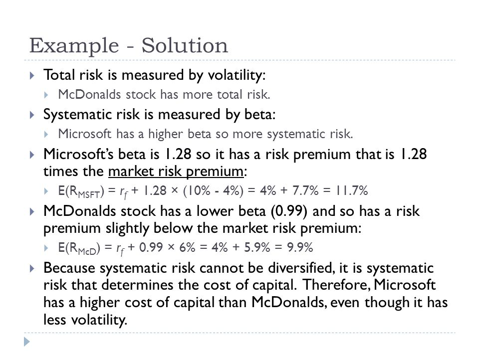 Example - Solution Total risk is measured by volatility: