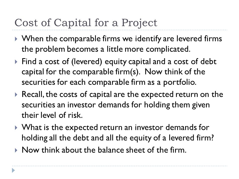 Cost of Capital for a Project