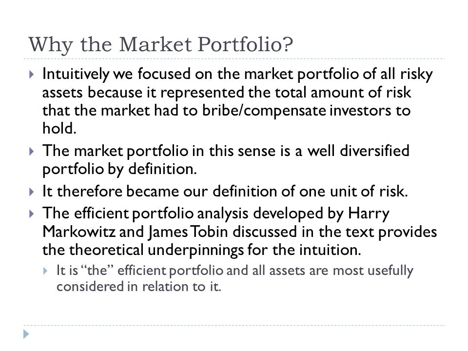 Why the Market Portfolio