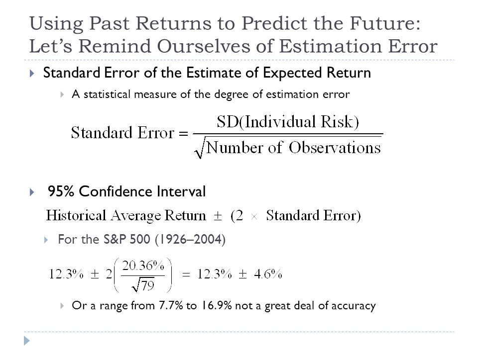 Using Past Returns to Predict the Future: Let's Remind Ourselves of Estimation Error