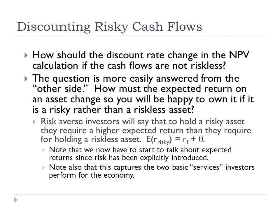 Discounting Risky Cash Flows