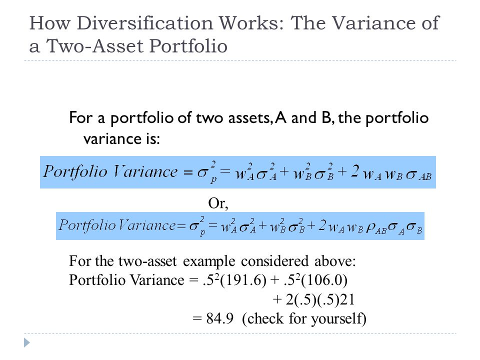 How Diversification Works: The Variance of a Two-Asset Portfolio