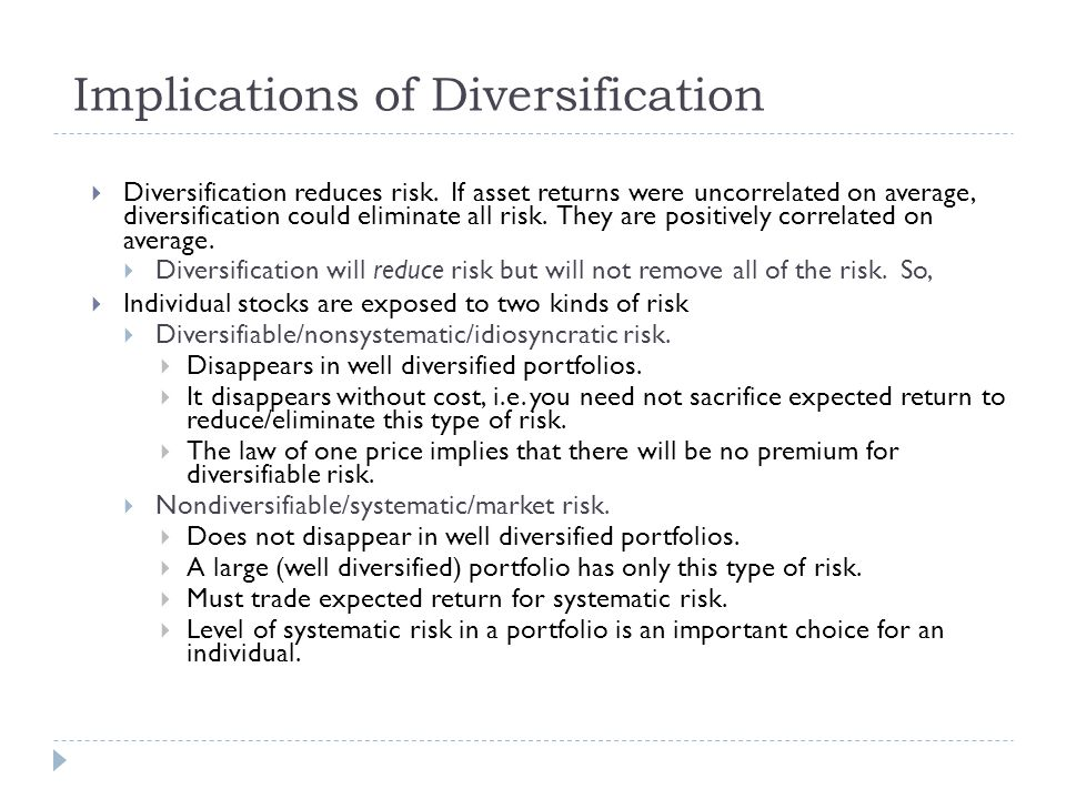 Implications of Diversification