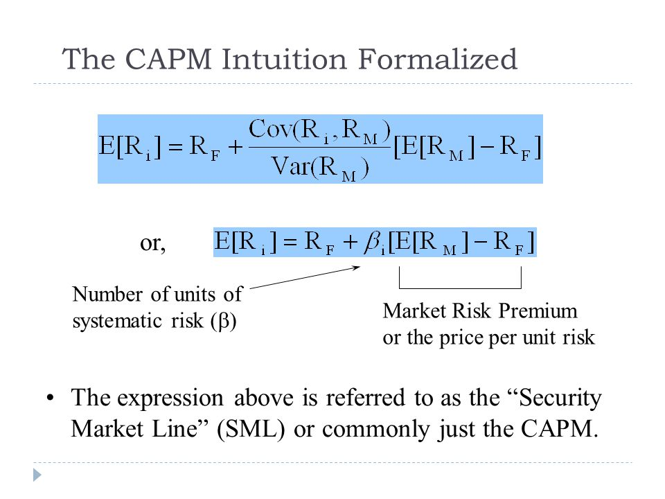 The CAPM Intuition Formalized
