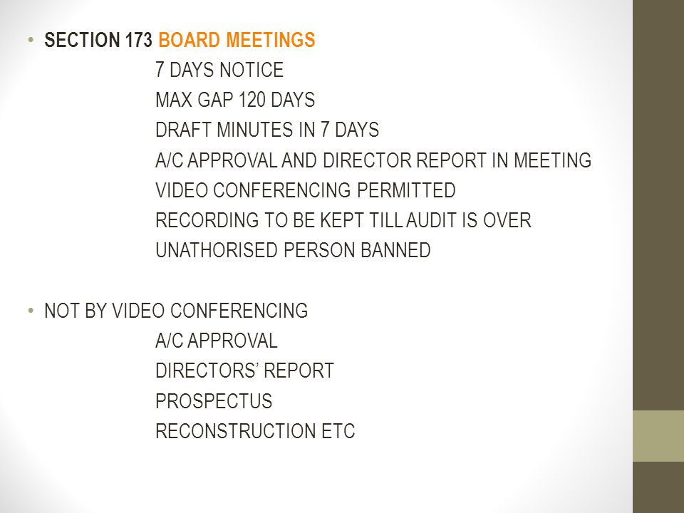 SECTION 173 BOARD MEETINGS