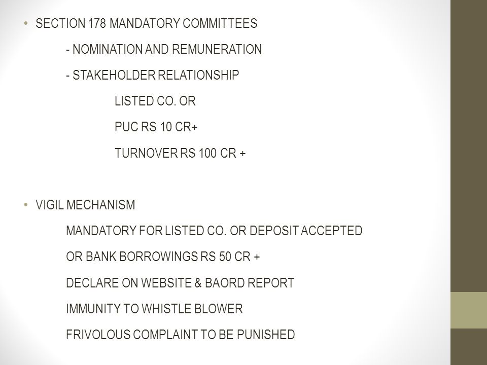 SECTION 178 MANDATORY COMMITTEES