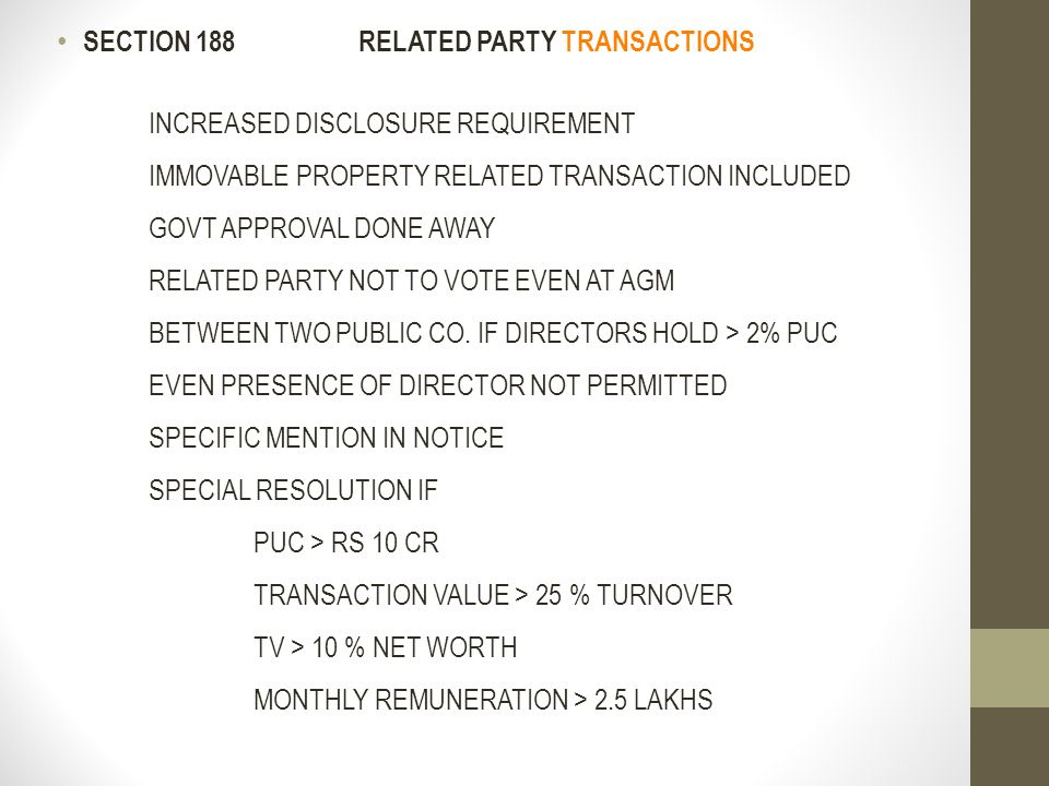 SECTION 188 RELATED PARTY TRANSACTIONS