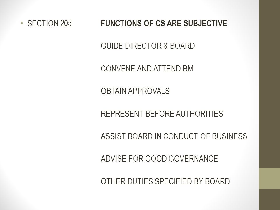 SECTION 205 FUNCTIONS OF CS ARE SUBJECTIVE