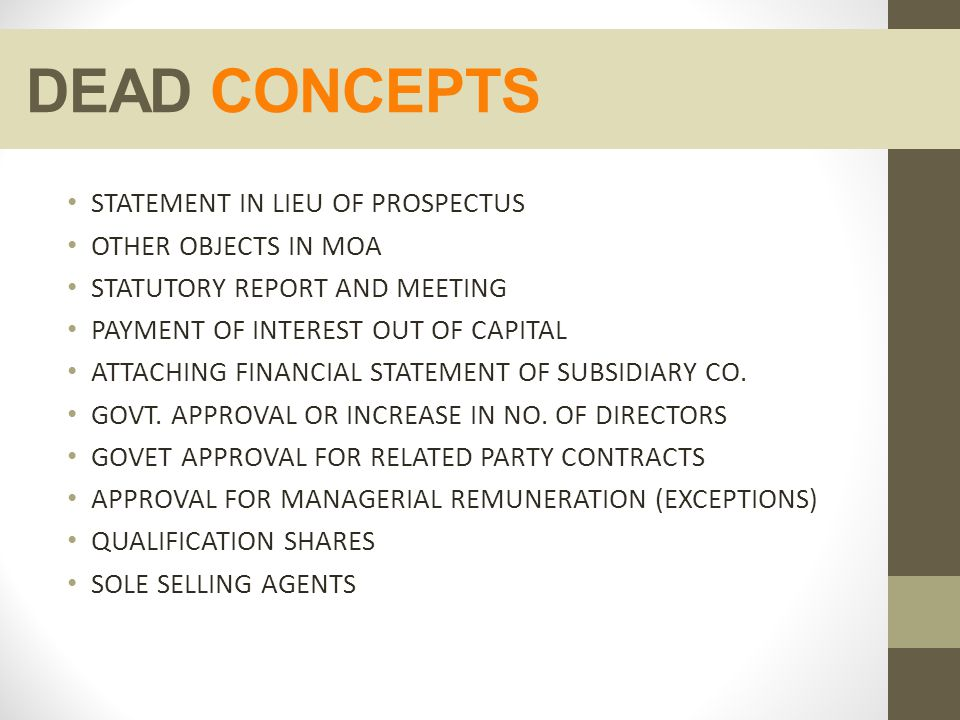 DEAD CONCEPTS STATEMENT IN LIEU OF PROSPECTUS OTHER OBJECTS IN MOA