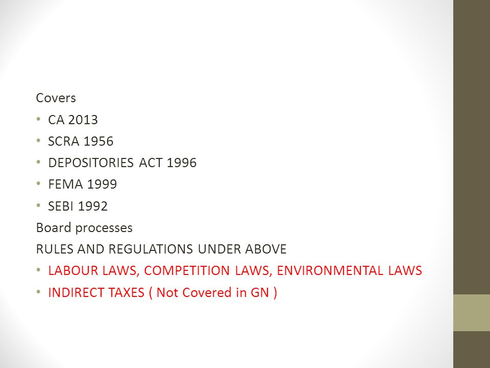 Covers CA 2013. SCRA 1956. DEPOSITORIES ACT 1996. FEMA 1999. SEBI 1992. Board processes. RULES AND REGULATIONS UNDER ABOVE.