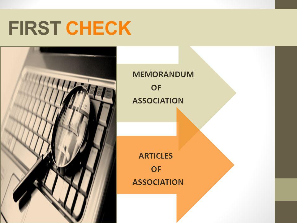 FIRST CHECK MEMORANDUM OF ASSOCIATION ARTICLES OF ASSOCIATION