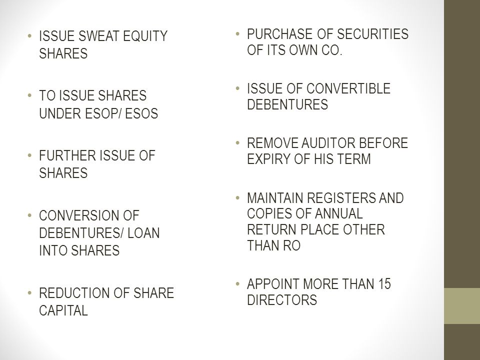 ISSUE SWEAT EQUITY SHARES