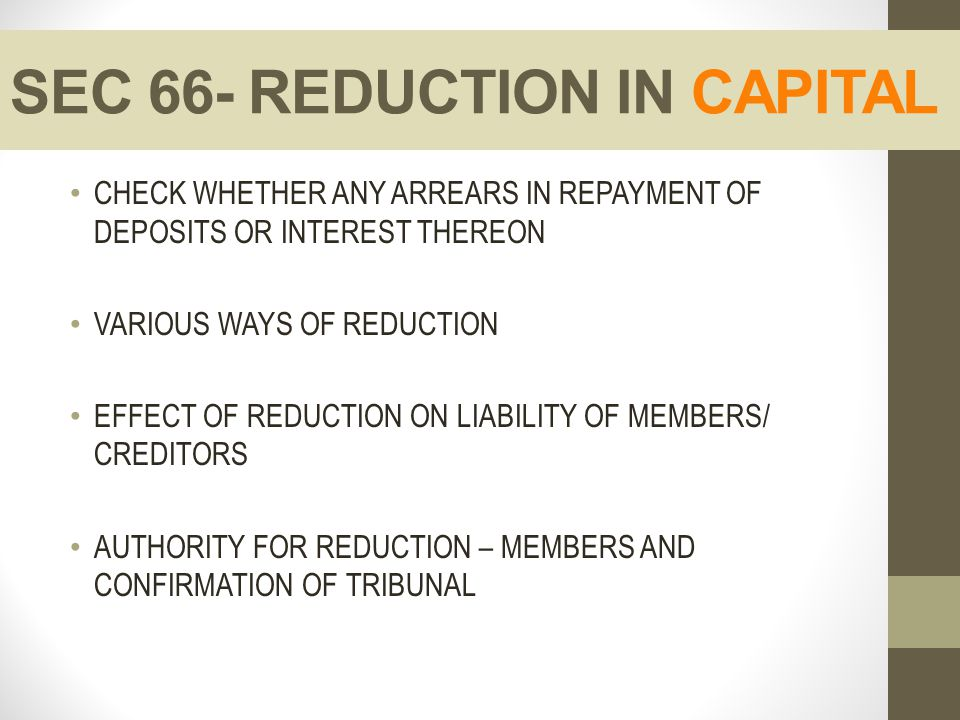 SEC 66- REDUCTION IN CAPITAL