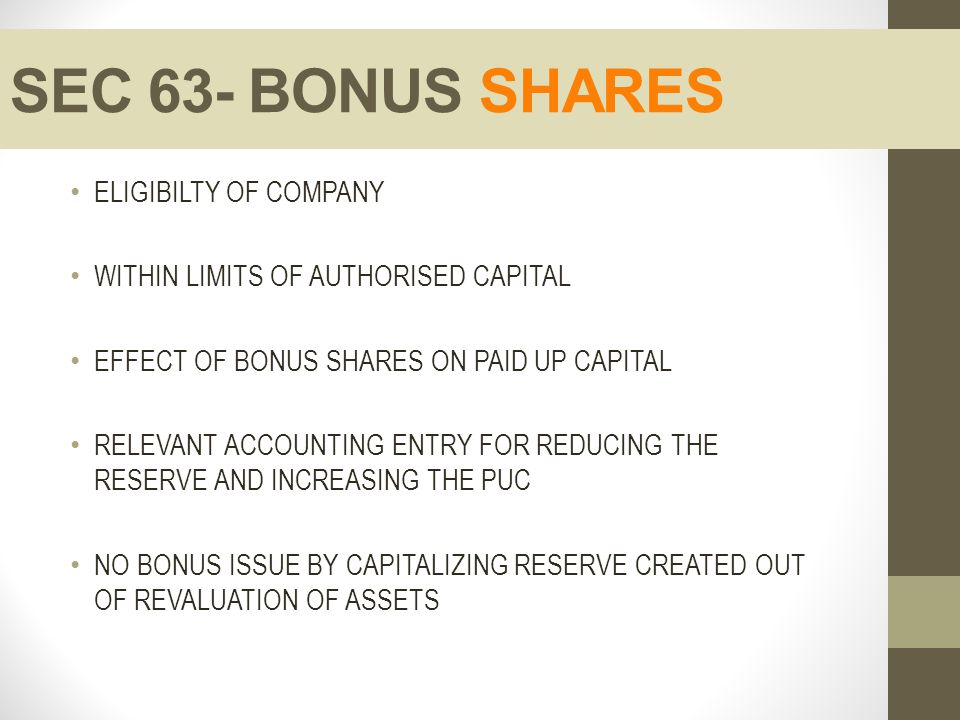 SEC 63- BONUS SHARES ELIGIBILTY OF COMPANY