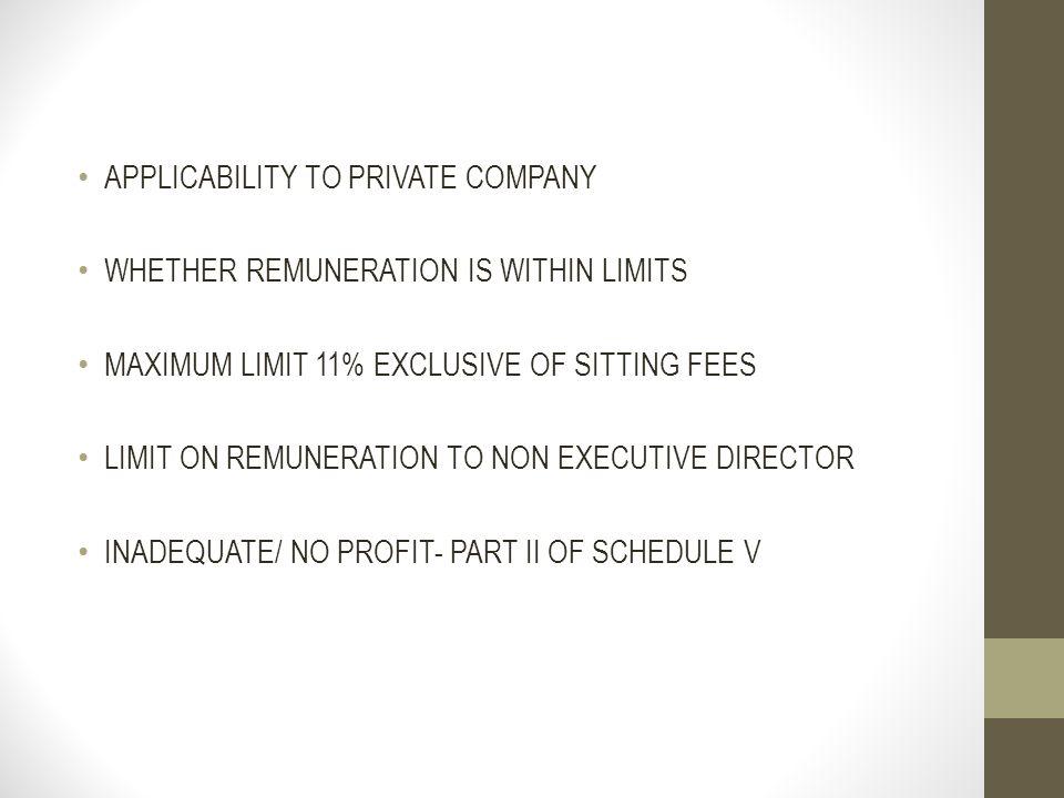 APPLICABILITY TO PRIVATE COMPANY