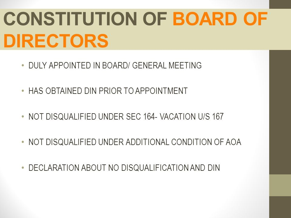 CONSTITUTION OF BOARD OF DIRECTORS