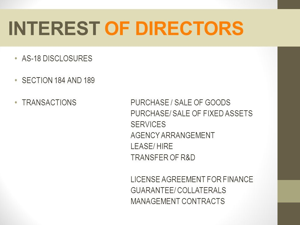 INTEREST OF DIRECTORS AS-18 DISCLOSURES SECTION 184 AND 189