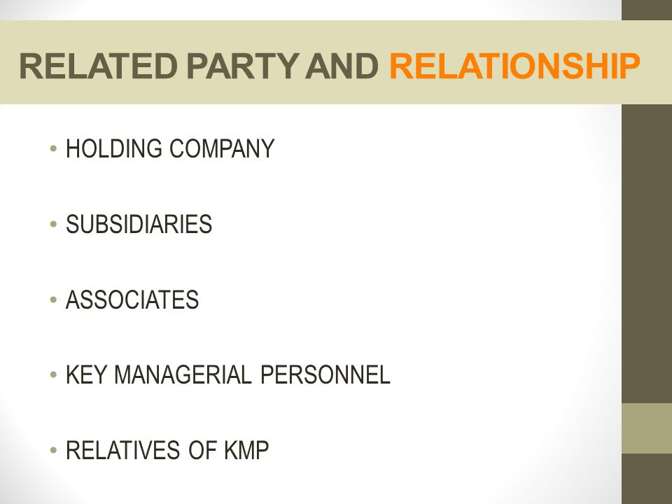 RELATED PARTY AND RELATIONSHIP