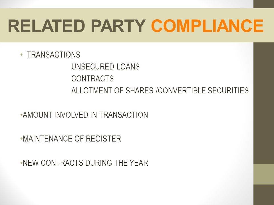 RELATED PARTY COMPLIANCE