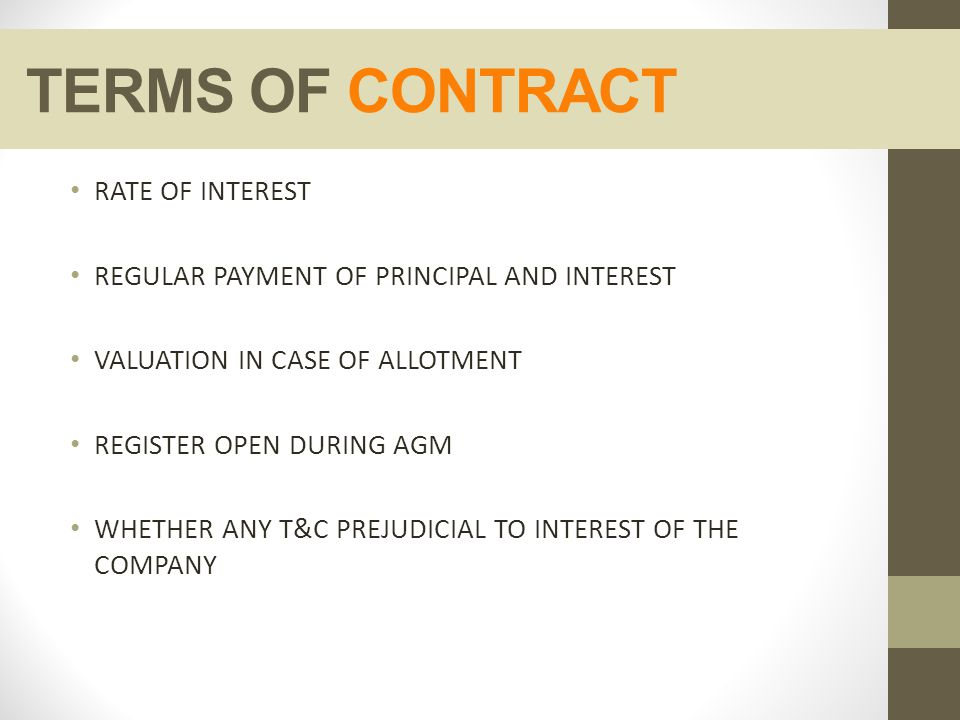 TERMS OF CONTRACT RATE OF INTEREST