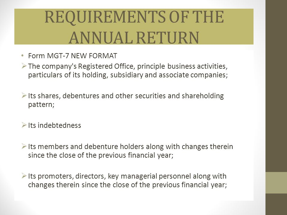 REQUIREMENTS OF THE ANNUAL RETURN