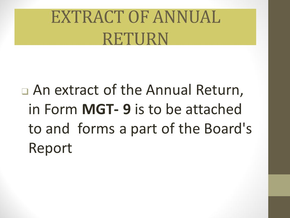 EXTRACT OF ANNUAL RETURN
