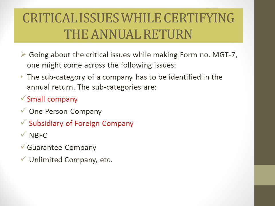 CRITICAL ISSUES WHILE CERTIFYING THE ANNUAL RETURN