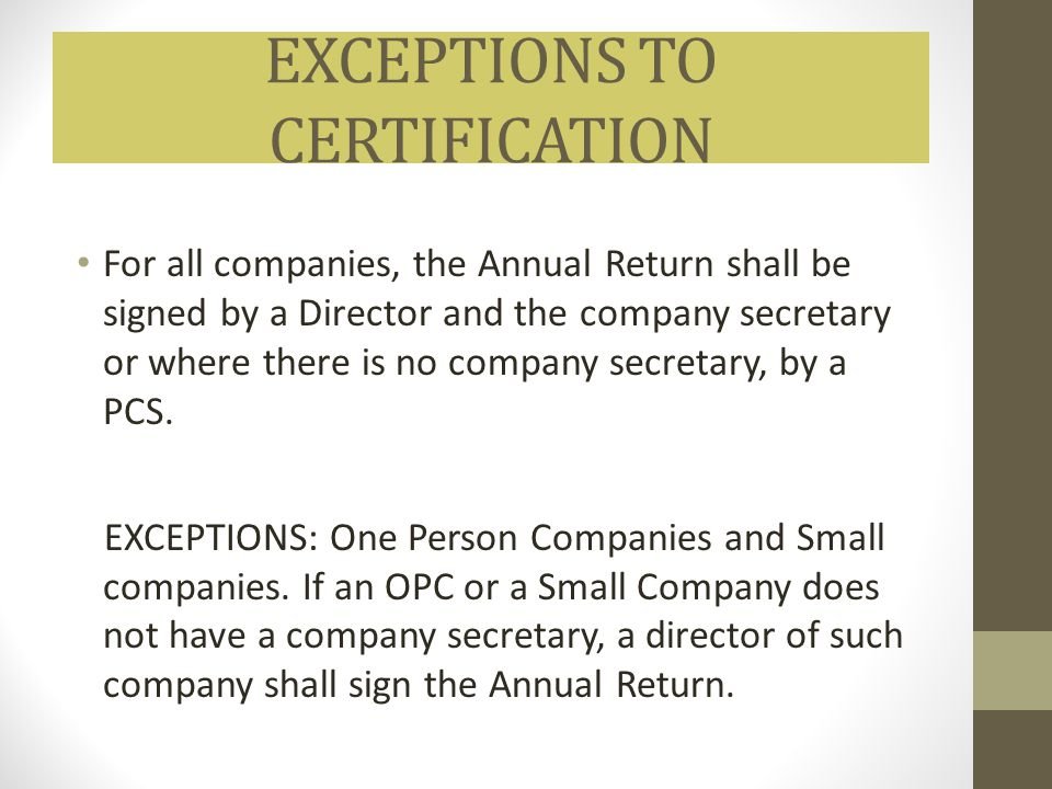 EXCEPTIONS TO CERTIFICATION