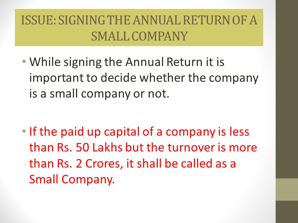 ISSUE: SIGNING THE ANNUAL RETURN OF A SMALL COMPANY