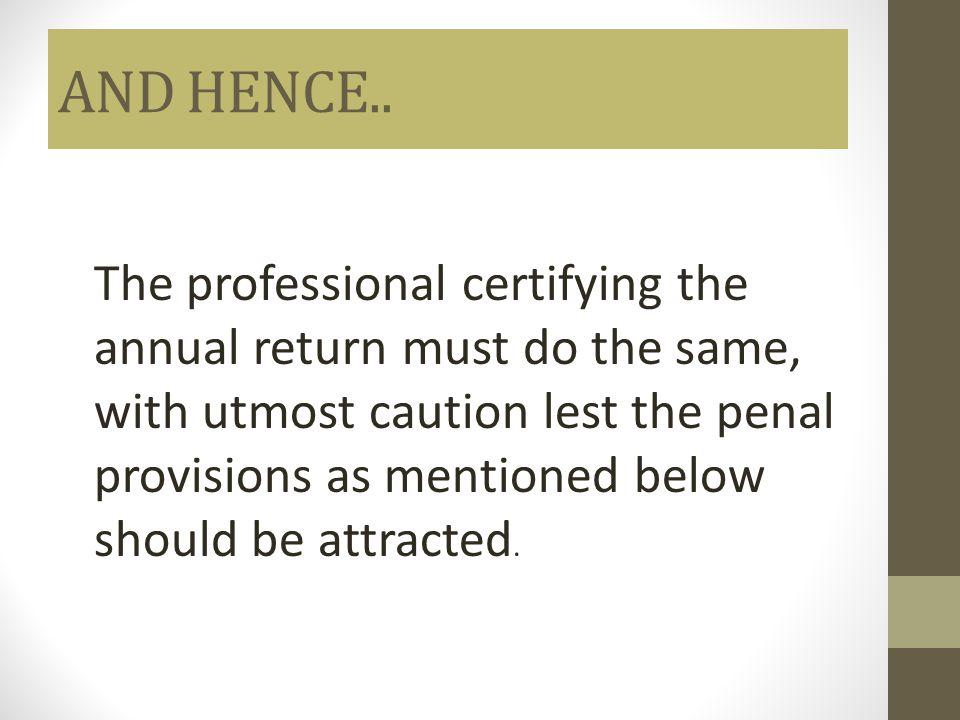 AND HENCE..