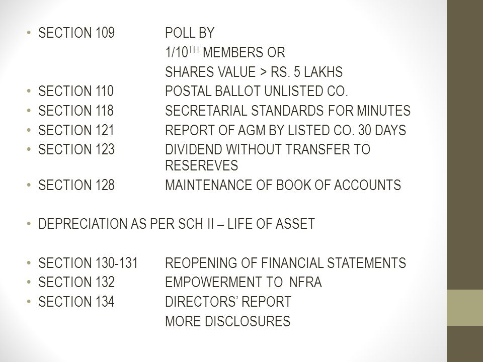 SECTION 109 POLL BY 1/10TH MEMBERS OR. SHARES VALUE > RS. 5 LAKHS. SECTION 110 POSTAL BALLOT UNLISTED CO.