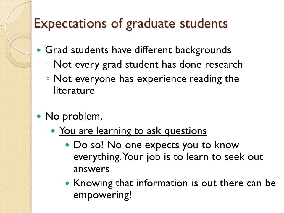 Expectations of graduate students