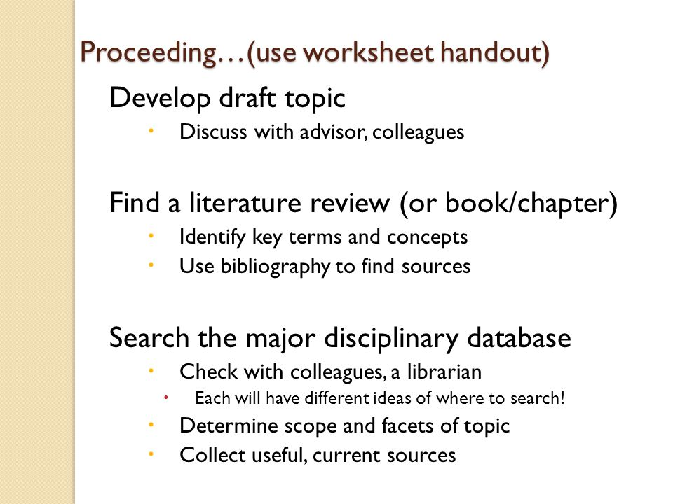 nur 443 literature search worksheet Nur 443 literature search worksheet select a literature search topic relevant to your practice the topic must be sufficiently delineated in scope without being trivial.