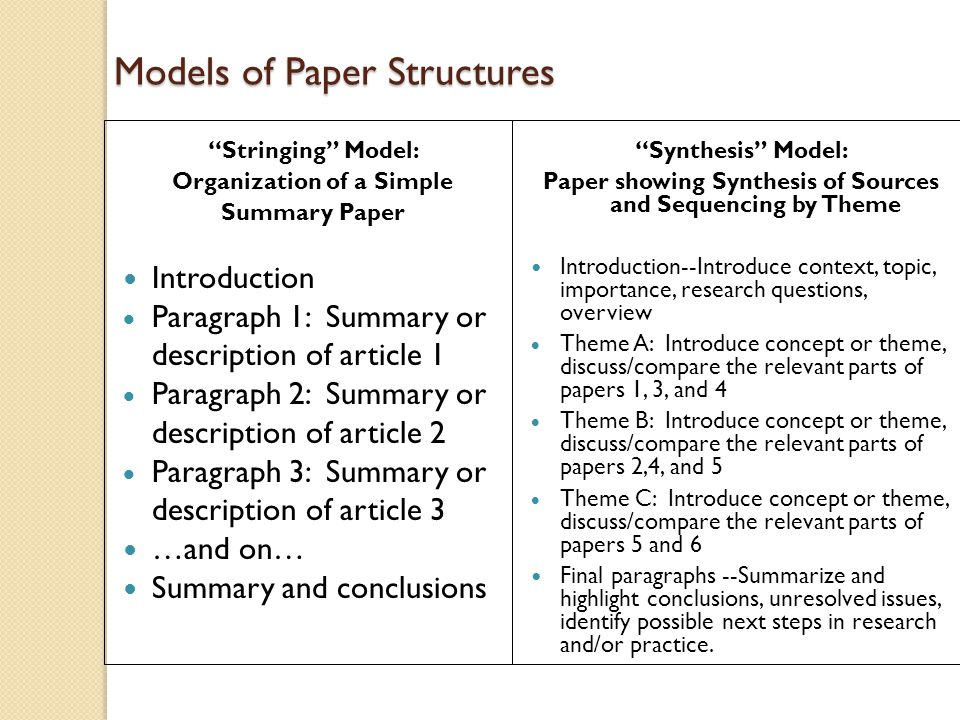 Models of Paper Structures