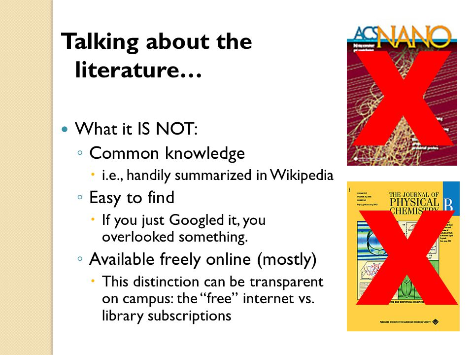 X X Talking about the literature… What it IS NOT: Common knowledge