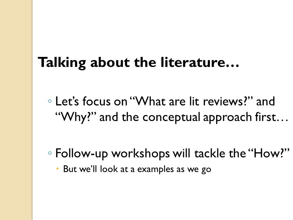 Talking about the literature…