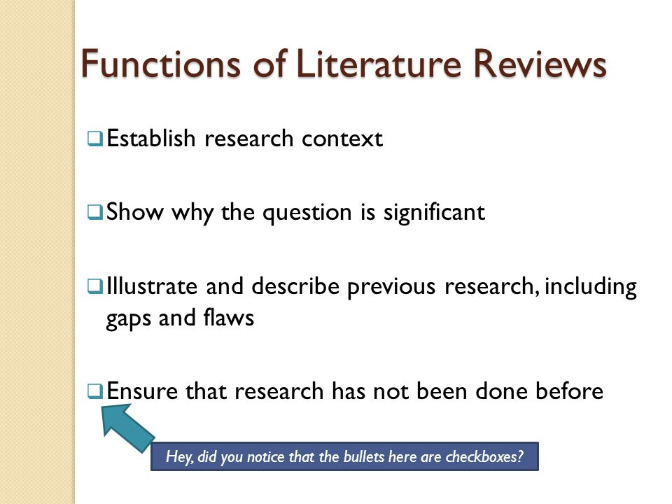 Functions of Literature Reviews