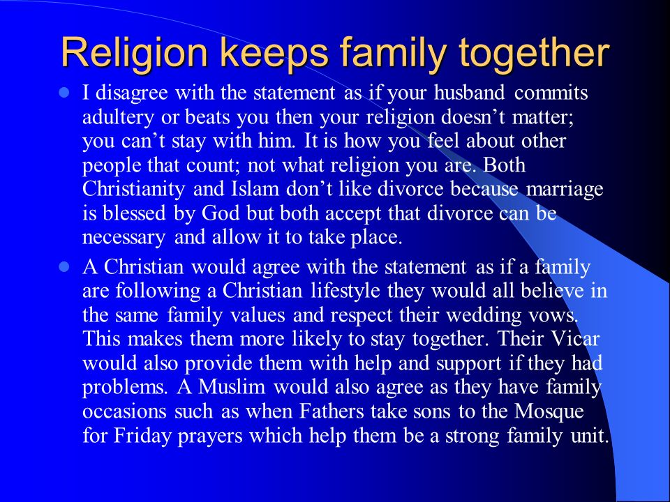 Religion keeps family together