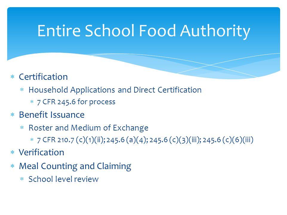 Entire School Food Authority