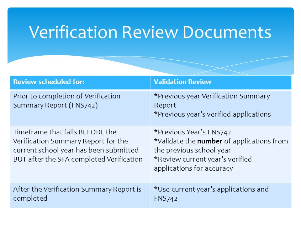 Verification Review Documents