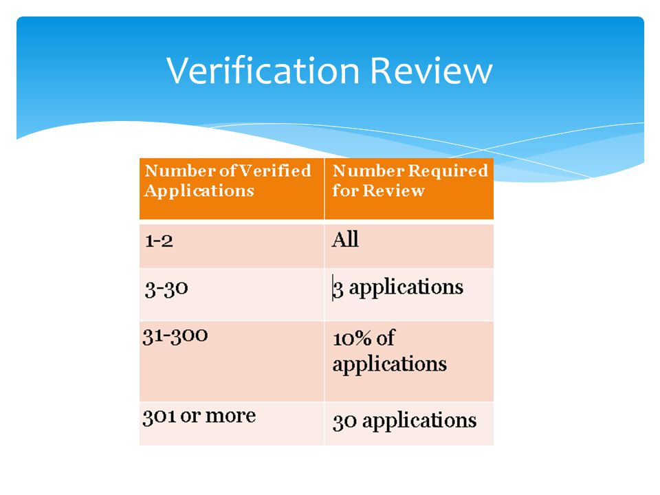 Verification Review This is how many applications we have to review.