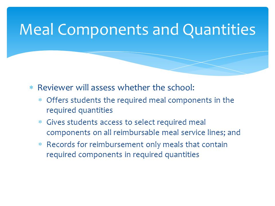Meal Components and Quantities