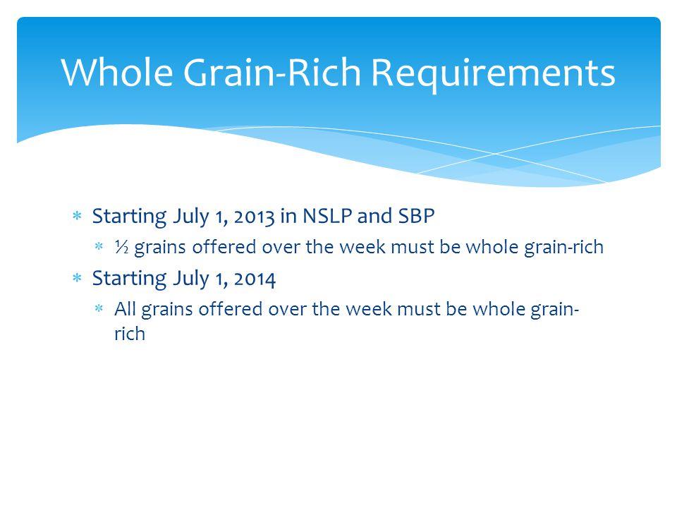 Whole Grain-Rich Requirements