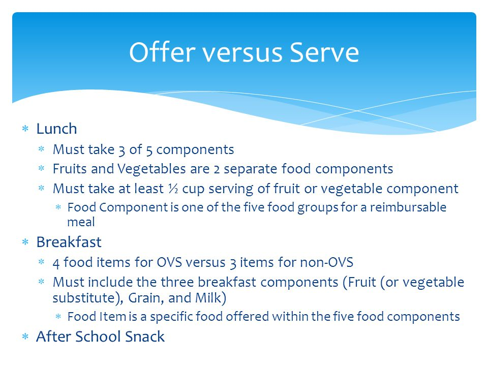 Offer versus Serve Lunch Breakfast After School Snack