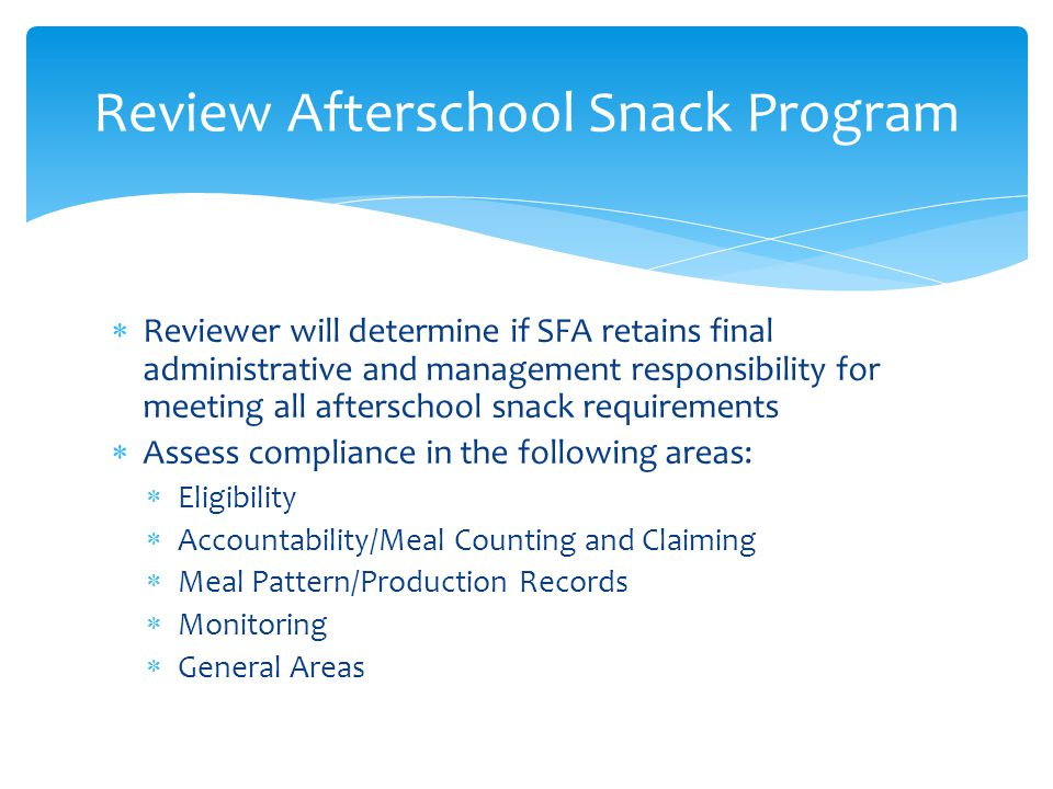 Review Afterschool Snack Program